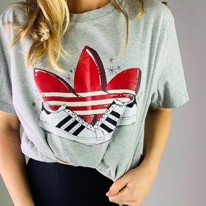 Adidas Originals Grey Trefoil Red 3 Stripes Tee XL